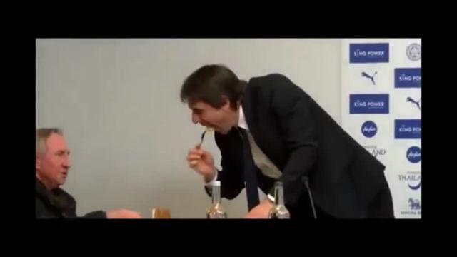 Conte, siparietto in conferenza stampa: ho fame! (e assaggia la torta dei giornalisti) /video